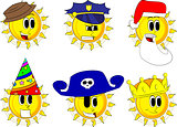Cartoon sun collection with costume.