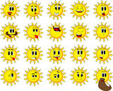 Cartoon sun collection with happy faces. Expressions vector set.