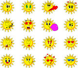 Sun collection with various facial expressions.