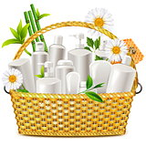 Vector Basket with Natural Cosmetic