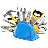 Vector Construction Helmet with Instruments