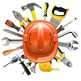 Vector Construction Helmet with Tools
