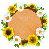 Vector Wooden Board with Flowers