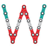 Alphabet from the New popular anti-stress toy Spinner. Letter W. Vector Illustration.