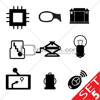 Car part icon set 5