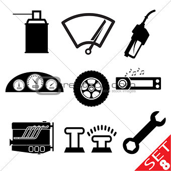 Car part icon set 8