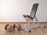 Barbell bench with weight dumbbells in the home.