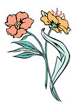 Two flowers. Vector black contour with fill isolated on white background