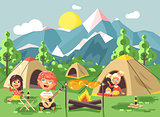 Vector illustration cartoon characters children boy sings playing guitar with girl scouts, camping on nature, hike tents and backpacks, adventure park outdoor background of mountains flat style