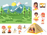 Vector illustration isolated cartoon characters children boy sings playing guitar, girl scouts siting in tent waving hand nature park outdoor bonfire, fried chicken, white background flat style