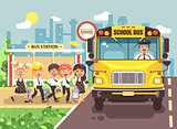 Vector illustration back to school cartoon characters schoolboy schoolgirls pupils apprentices cute cheerful children at bus stop go board school bus with driver on city background in flat style