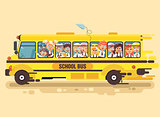 Vector illustration back to school cartoon characters schoolboy schoolgirls, pupils apprentices children riding school bus for tour training excursion travel journey yellow background flat style