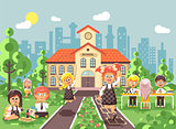 Vector illustration children characters schoolboy schoolgirl pupils apprentices classmates at schoolyard play chess dinner lunch, read book jumping rope on backdrop of school building flat style