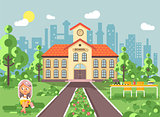 Vector illustration child character schoolgirl pupil apprentice sitting on grass near trees bushes exterior schoolyard read book doing homework school building gymnasium background in flat style