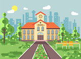 Vector illustration back to school architecture two-story building with porch, clock on tower, trees bushes exterior schoolyard table for chess background in flat style video design element
