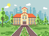 Vector illustration back to school architecture two-story building with porch, clock on tower, trees bushes exterior schoolyard behind structure background in flat style for video design element