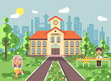 Vector illustration back to school character schoolgirl schoolboy pupil sitting on grass, exterior schoolyard, girl reads book, boy doing homework at table, gymnasium background in flat style