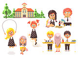 Vector illustration isolated children characters schoolboy schoolgirl pupils apprentices classmates play chess dinner lunch, read book jumping rope school building white background in flat style