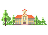 Vector illustration isolated back to school architecture two-story building with porch, clock on tower, trees bushes exterior behind structure white background in flat style video design element