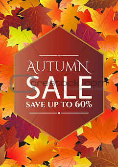 Autumn sale poster, flyer template.