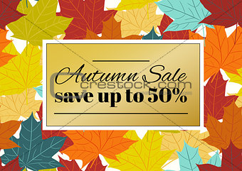 Autumn sale poster, flyer, card template with typography. Bright fall maple leaves, spica, rowanberry.