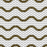 Zigzag wave lines with gold glitter seamless vector pattern.