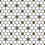 Hexagon grid cells with glitter polka vector seamless pattern.