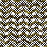 Zigzag angle wave lines with gold glitter seamless vector pattern.