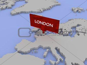 3d world map illustration - London, England