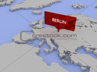 3d world map illustration - Berlin