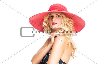 beautiful girl in red hat