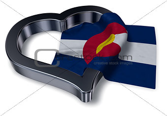 flag of colorado and heart symbol - 3d rendering