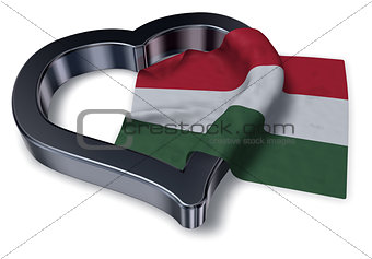 flag of hungary and heart symbol - 3d rendering