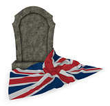gravestone and flag of great britain - 3d rendering
