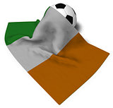 soccer ball and flag of ireland - 3d rendering