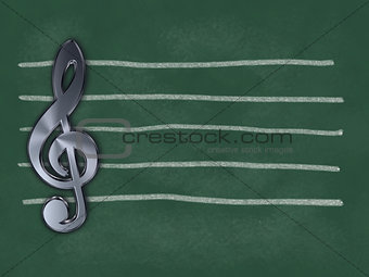 clef and lines on chalkboard - 3d illustration