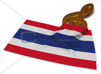 clef symbol symbol and flag of thailand - 3d rendering