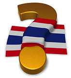 question mark and flag of thailand - 3d illustration
