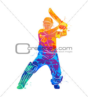 Abstract batsman playing cricket