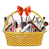 Vector Basket with Makeup Cosmetics