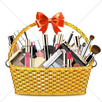 Vector Basket with Makeup Cosmetics