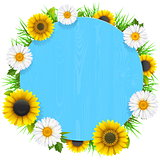 Vector Blue Round Wooden Frame with Flowers