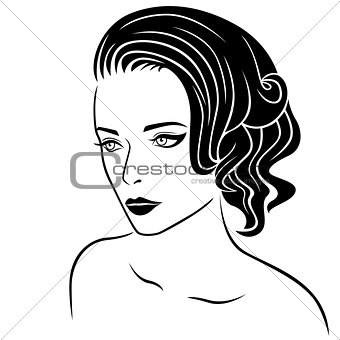 Beautiful women half-turn portrait