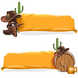 Vector Cowboy Billboards with Yellow Flag