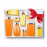 Vector Gift Box with Cosmetics