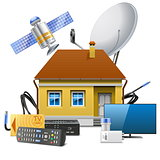 Vector House with Satellite Equipment