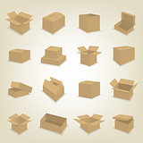 Flat icons of cardboard boxes, vector illustration.