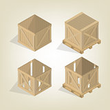 Realistic wooden box with pallet isometric, vector illustration.