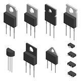 Set of different transistors in 3D, vector illustration.