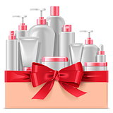 Vector Cosmetic Packaging with Red Bow